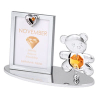 Photo Frame - Teddy Bear figurine Crystal Photo Frame Mini November Birthstone Standard | Crystocraft Online Shop