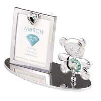 Photo Frame - Teddy Bear figurine Crystal Photo Frame Mini March Birthstone Standard | Crystocraft Online Shop