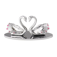 Wedding Gift - Crystal Swans in Love with Heart Shape Figurine Chrome / Standard | Crystocraft Online Shop