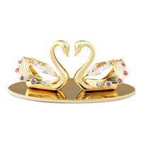 Wedding Gift - Crystal Swans in Love with Heart Shape Figurine Gold / Standard | Crystocraft Online Shop