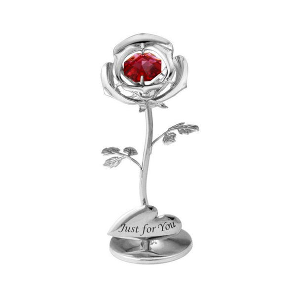 Table Deco - Mini Crystal Rose Figurine Chrome Just for you | Crystocraft Online Shop