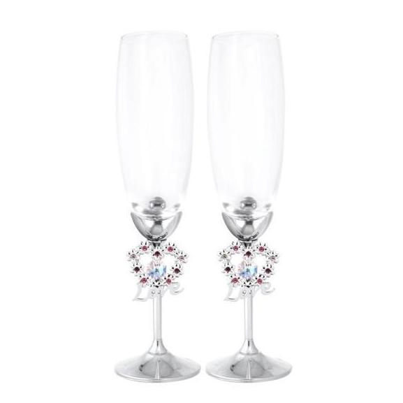 Wedding Gift - Blooming Love Crystal Champagne Flutes Set Standard / Chrome | Crystocraft Online Shop