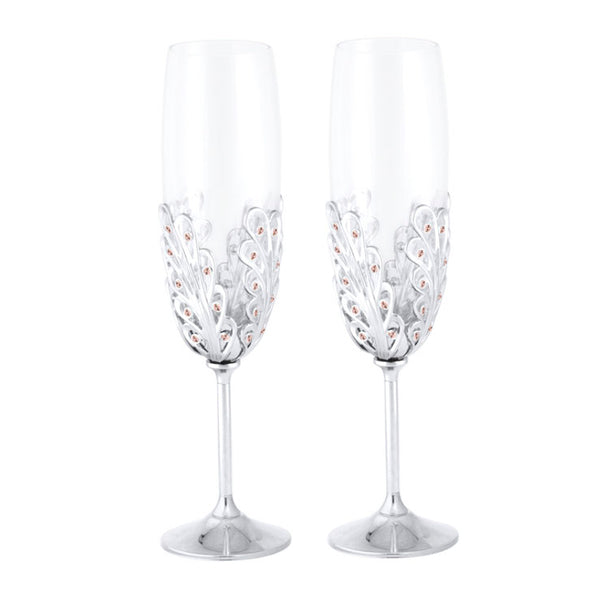 Wedding Gift - Peacock Tail Crystal Champagne Flutes Set Standard / Chrome | Crystocraft Online Shop