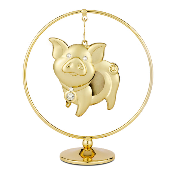 Table Deco - Cute Chinese Zodiac Pig Crystal Dangling Figurine Clear / Standard | Crystocraft Online Shop