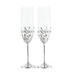 Wedding Gift - Gothic Style Crystal Champagne Flutes Set Standard / Chrome | Crystocraft Online Shop