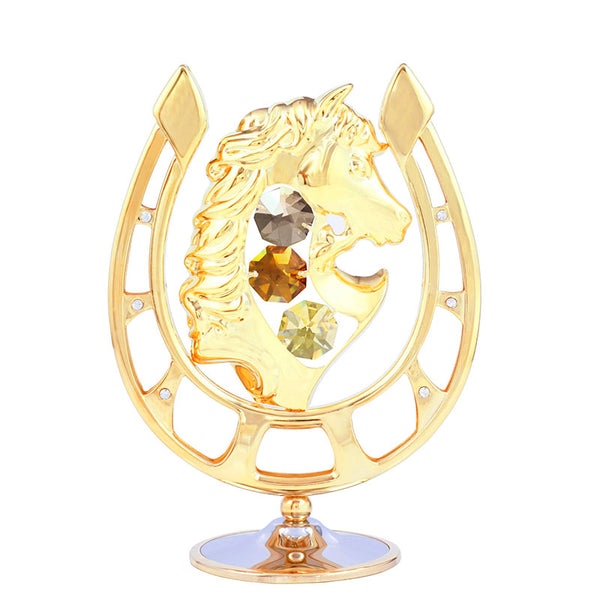 Table Deco - Lucky Horseshoe with Horse Head Crystal Figurine Standard | Crystocraft Online Shop