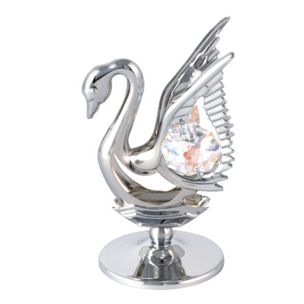 Table Deco - Mini Crystal Swan Figurine Chrome / Standard | Crystocraft Online Shop