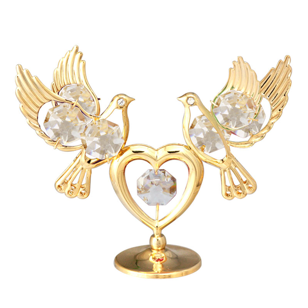 Table Deco - Love Doves Crystal Figurine Gold / Standard | Crystocraft Online Shop