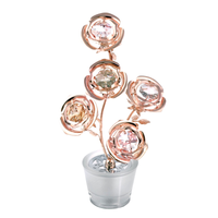 Table decorate - Blossom Crystal Rose of Five Figurine Rose Gold | Crystocraft Online Shop