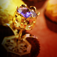 Table Deco - Mini Crystal Tulip Figurine Gold with purple crystal | Crystocraft Online Shop