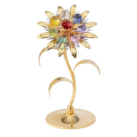 Table decorate - Large Sunflower Crystal Figurine Gold with assorted Crystal / Standard | Crystocraft Online Shop