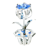 Table Deco - Mini Crystal Tulip Figurine Chrome with blue crystal | Crystocraft Online Shop