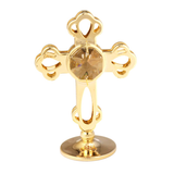 Table Deco - Mini Crystal Cross Figurine Gold / Standard | Crystocraft Online Shop