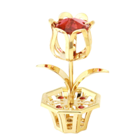 Table Deco - Mini Crystal Tulip Figurine Gold with red crystal | Crystocraft Online Shop