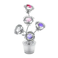 Table decorate - Blossom Crystal Rose of Five Figurine Chrome | Crystocraft Online Shop