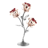 Table Deco - Triple Rose Bud Crystal Figurine Rose Gold / Standard | Crystocraft Online Shop