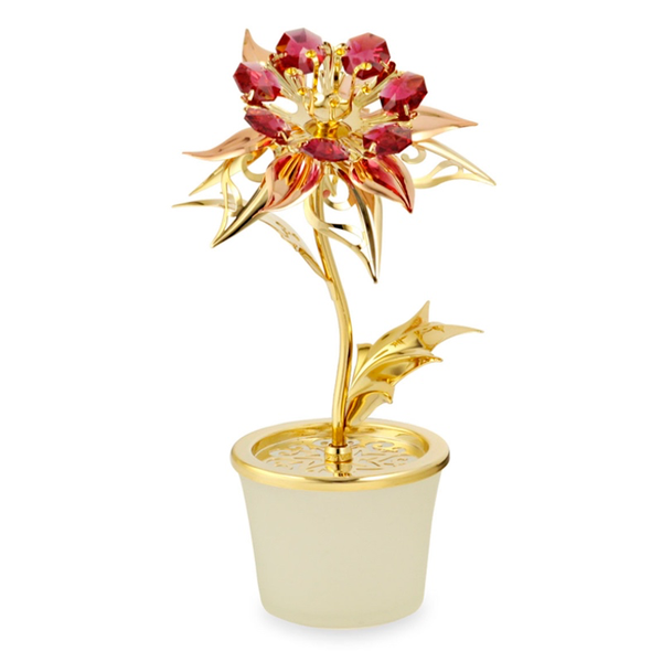 Table decorate - Poinsettia Flower Crystal Figurine Gold | Crystocraft Online Shop