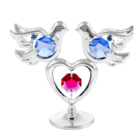 Table Deco - Love Doves Crystal Figurine Chrome / Standard | Crystocraft Online Shop