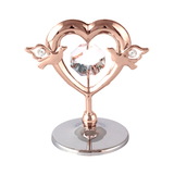 Table Deco - Mini Heart & Love birds Crystal Figurine Rose Gold / Standard | Crystocraft Online Shop