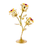 Table Deco - Triple Rose Bud Crystal Figurine Gold / Standard | Crystocraft Online Shop