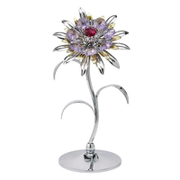 Table decorate - Large Sunflower Crystal Figurine Chrome / Standard | Crystocraft Online Shop