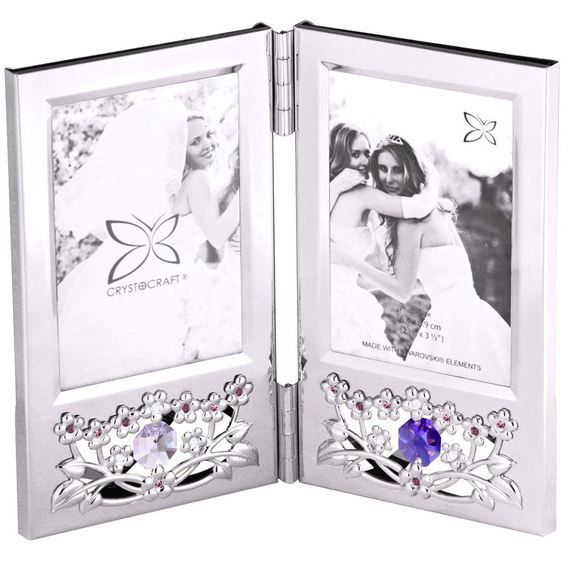 Photo Frame - Bouquet Double 2R Crystal Picture Frame Standard | Crystocraft Online Shop