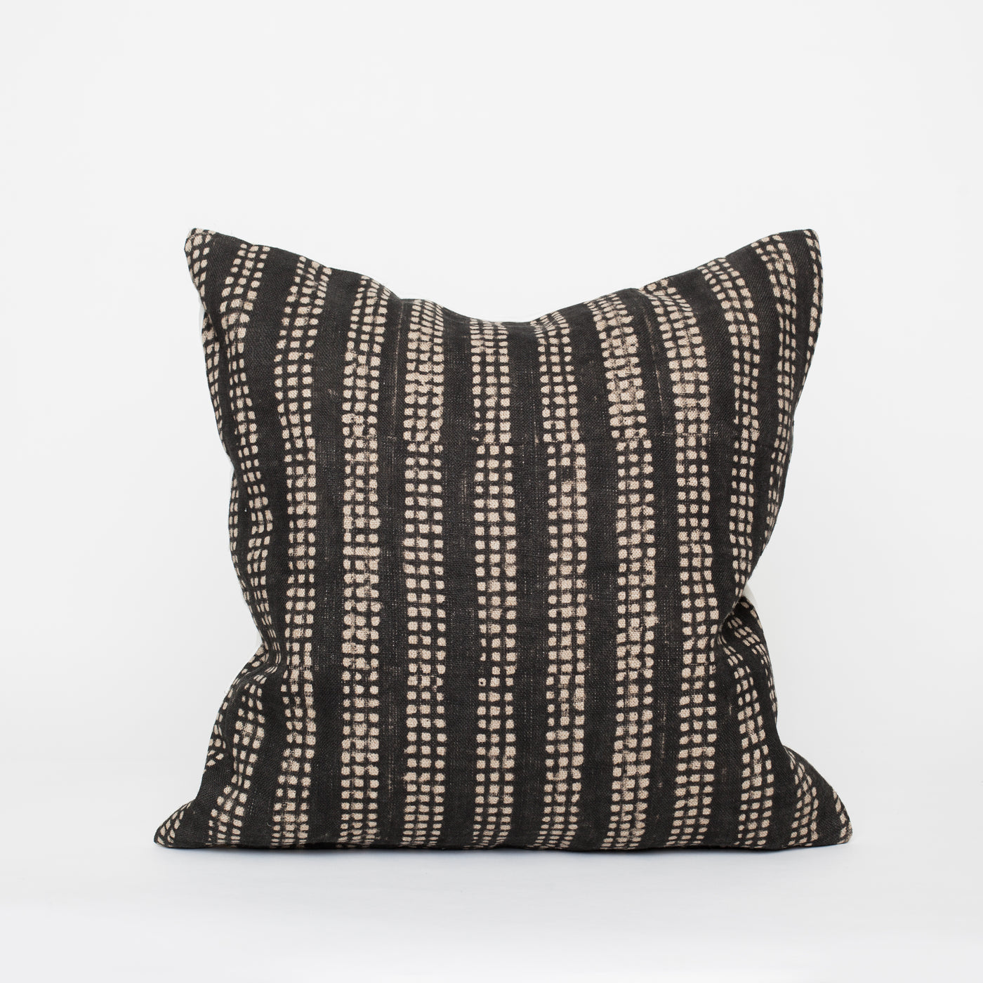 Linen pillow block print black beige HOM & CO home decor