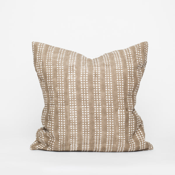 Block print linen pillow beige