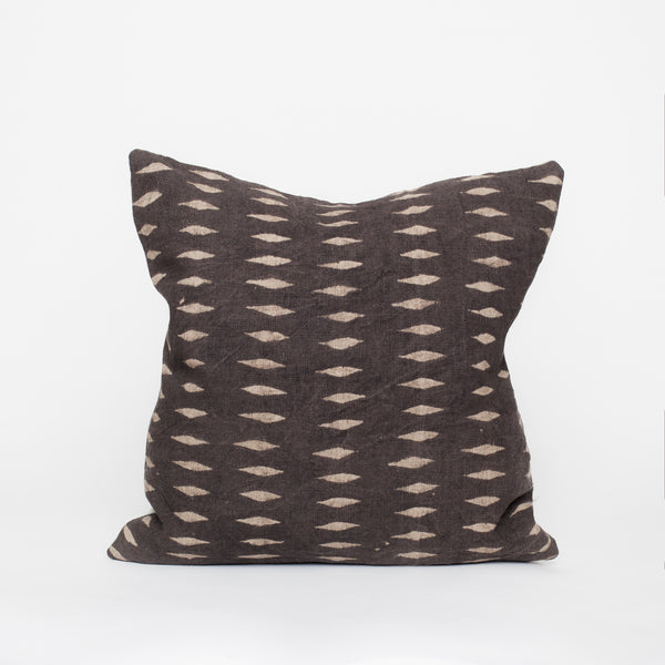 Block print linen pillow brown beige home decor