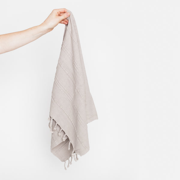 turkish towel stone wash beige fringe HOM & CO