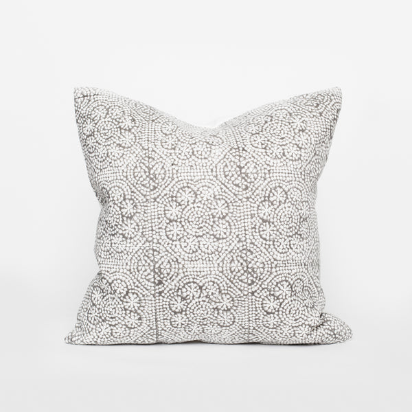 HOM&CO Linen block print pillow gray Wisteria