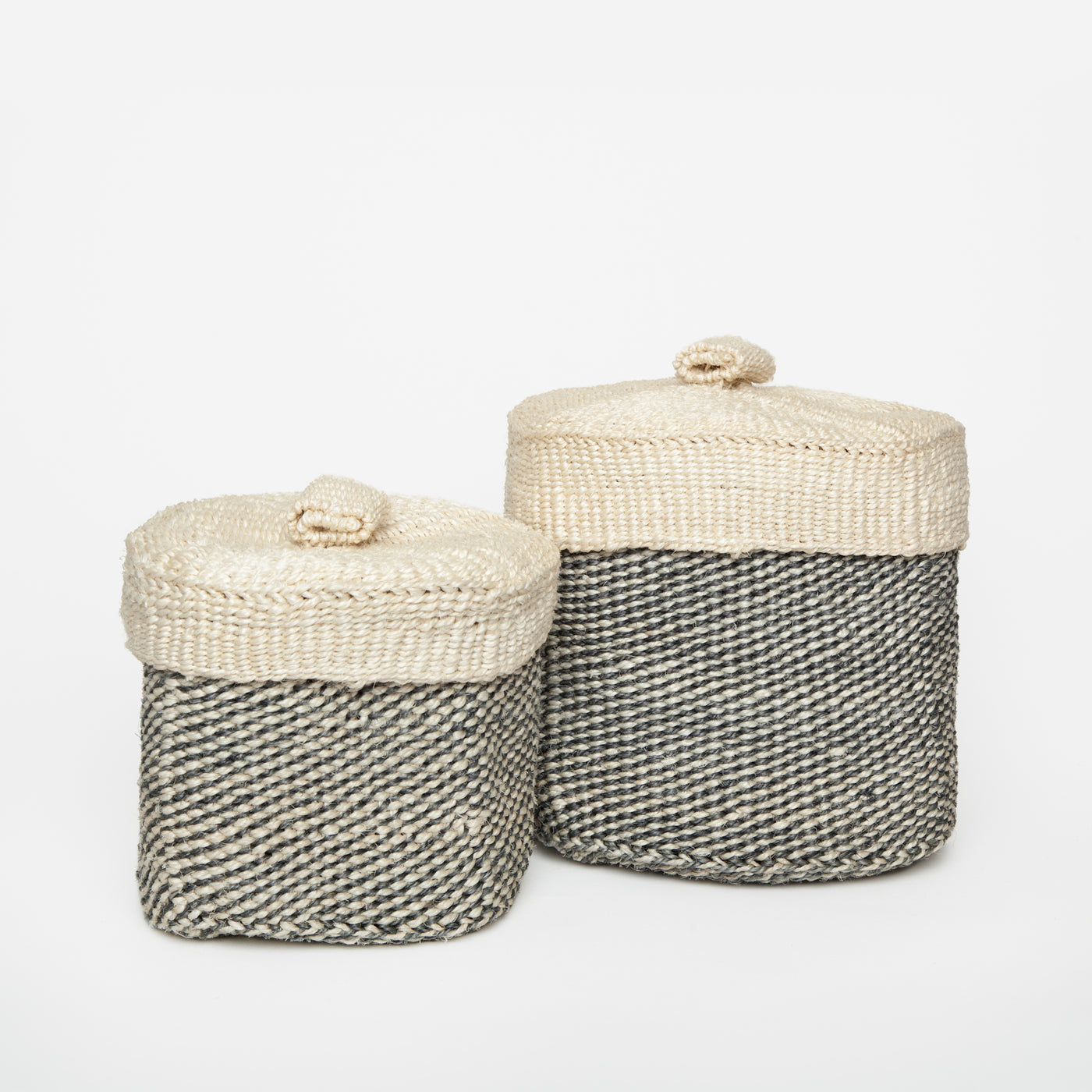 panier basket sisal with lid grey