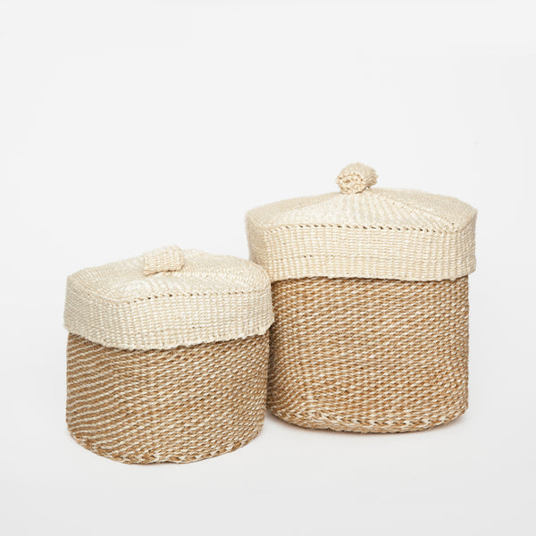 panier basket sisal with lid beige