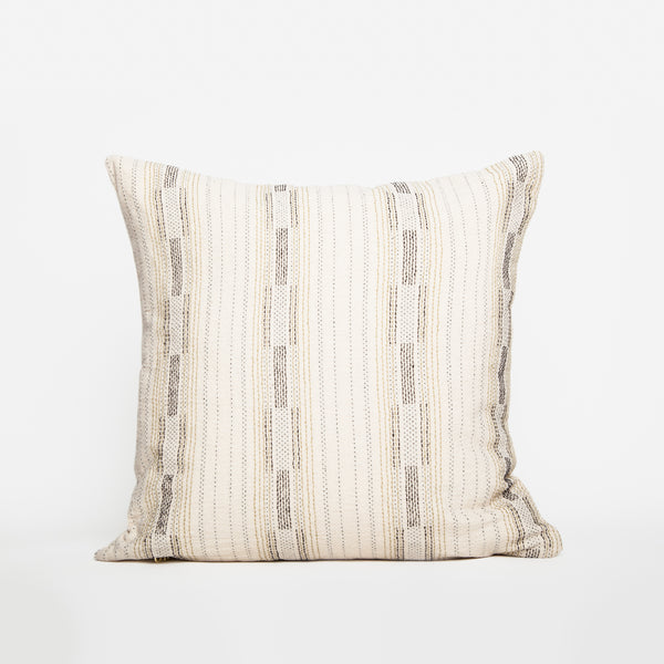 Hom & Co | coussin coton naturel chiangmai blanc jaune noire | pillow vintage home decor