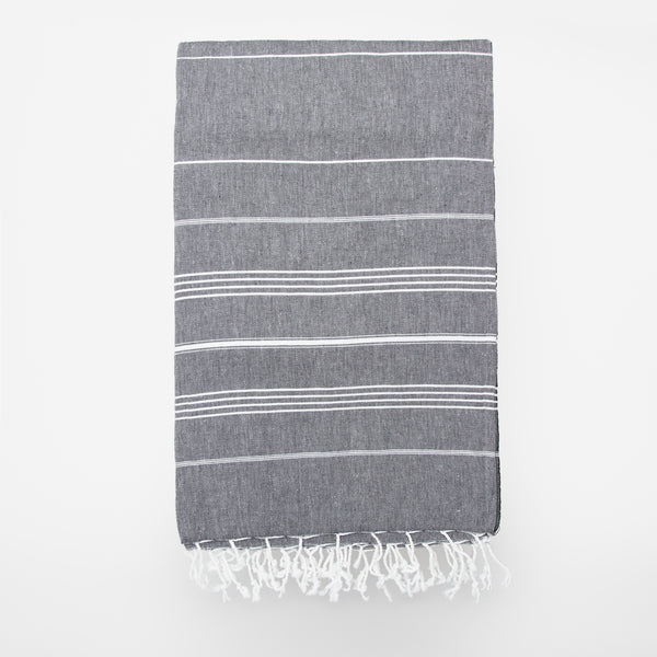 peshtamal turkish towel gris et blanc