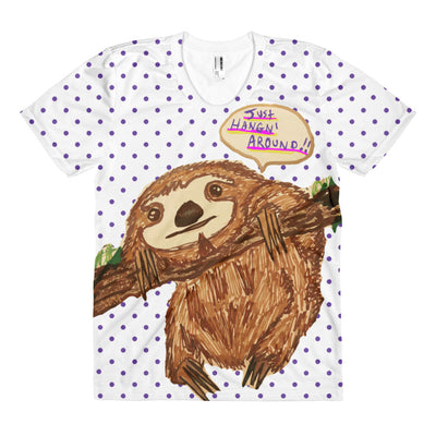 Sloth Just Hangn' Around - Women's Sublimation Tee - Mr. Michael's Clothing