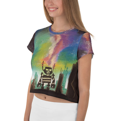 Beautiful City Robot - Women's Crop Tee - Mr. Michael's Clothing