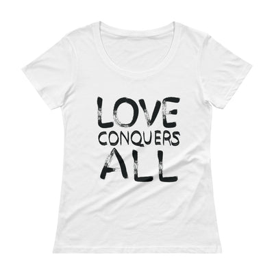 Love Conquers All - Ladies' Scoopneck T-Shirt - Mr. Michael's Clothing