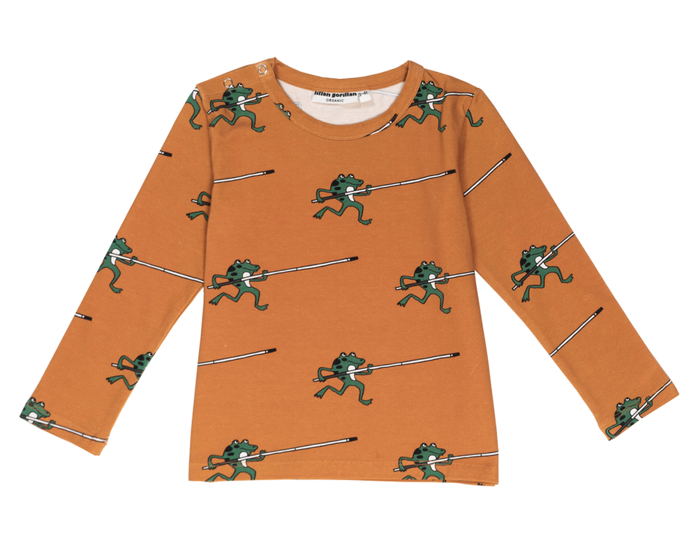 Orange Frog Long Sleeve Top