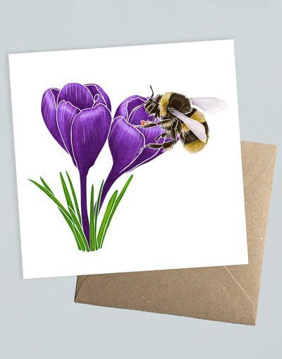 Crocus & Bee Greeting Card