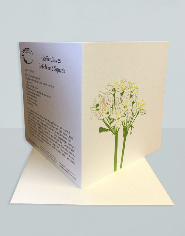 Vintage Garlic Chives Recipe Greeting Card