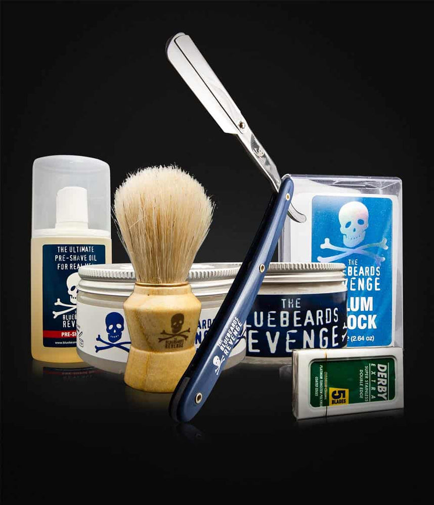 Barbersett - Bluebeards ☠ Shavette-kit