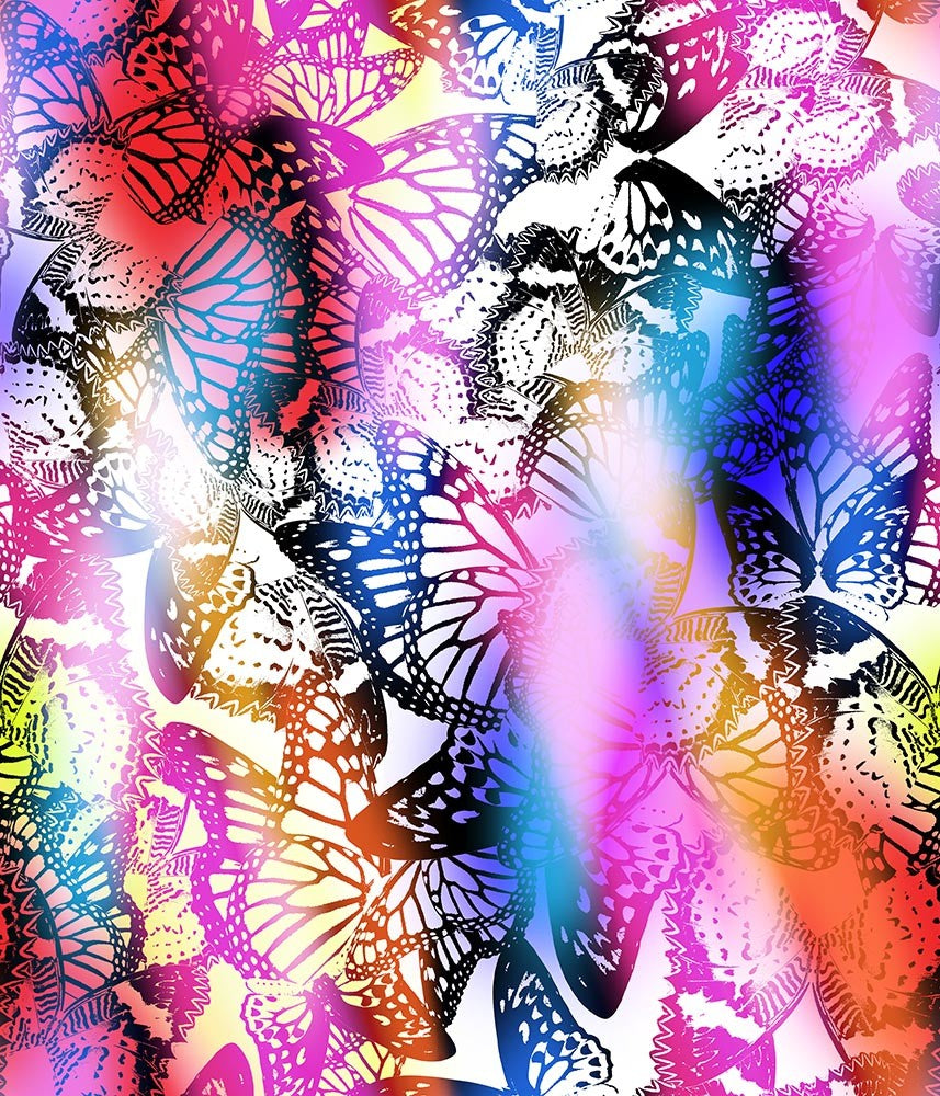Animal Large Butterflies Fluttering Multi P