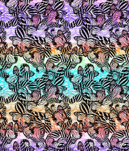 Animal Large Butterflies Ombre Stripe Swarming Multi P