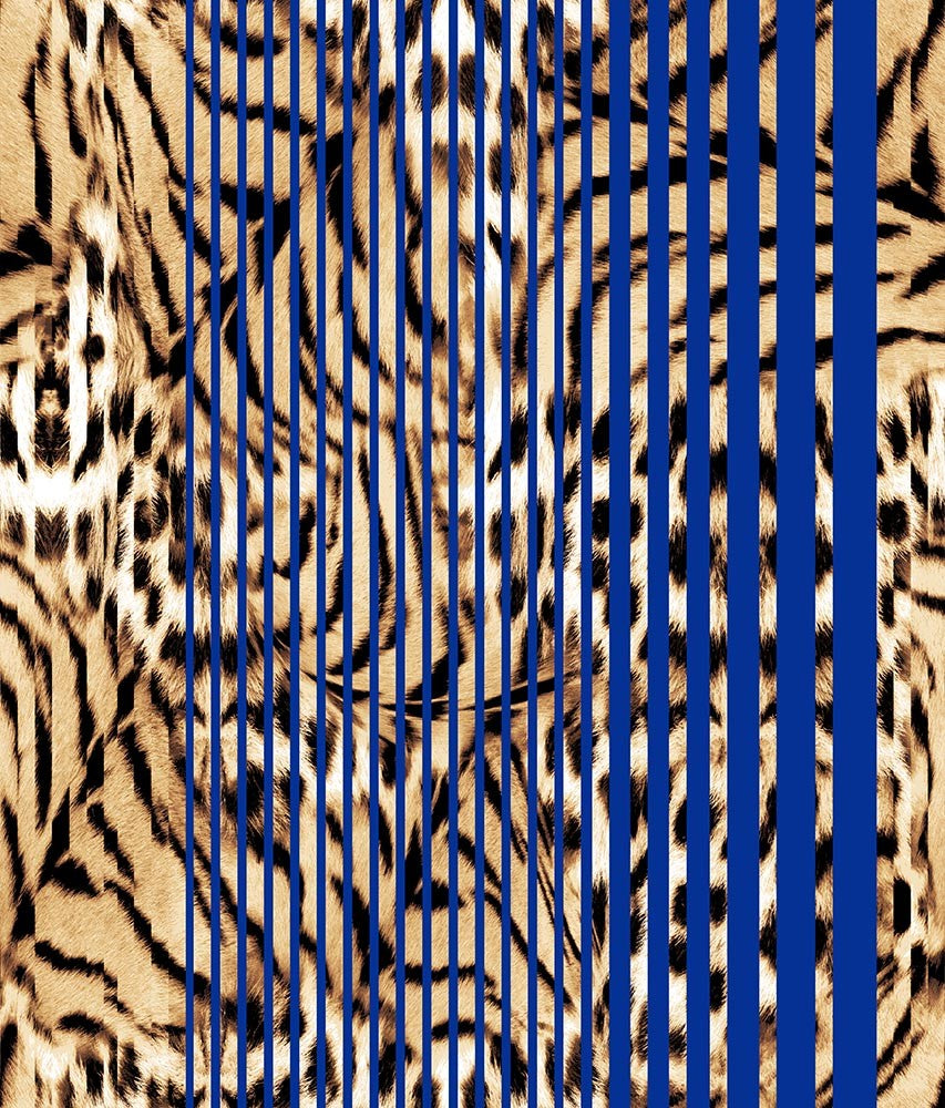 Animal Large Stripes Tiger Mod Wild Blue P
