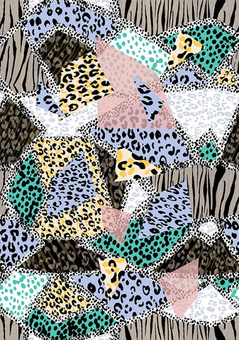 Animal Medium Leopard Jungle Collage Pastel Multi P