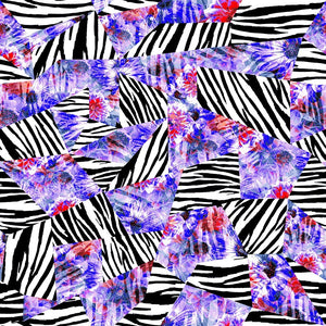 Animal Medium Zebra Geo Daisy Collage Blue/Black/White
