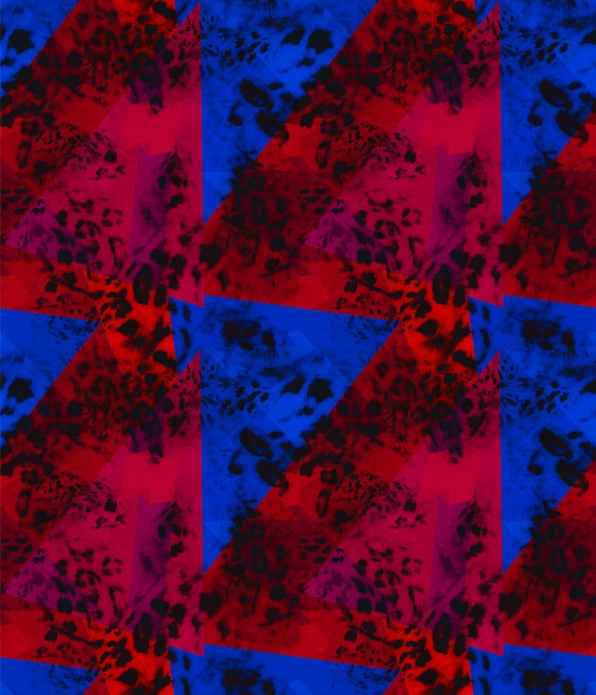 Animal Large Leopard Geo Mysterious Red/Blue