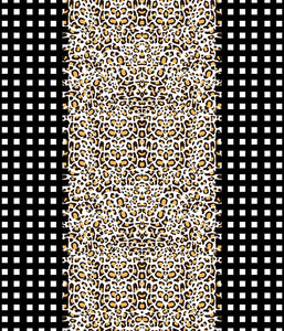 Animal Large Stripe Leopard Check Grid Gold/Black P