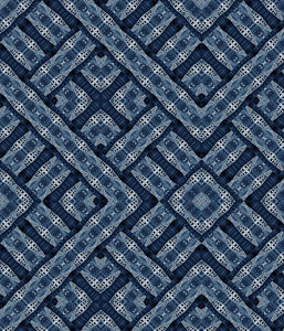 Ethnic Large Geo Indigo Diamonds Blue P
